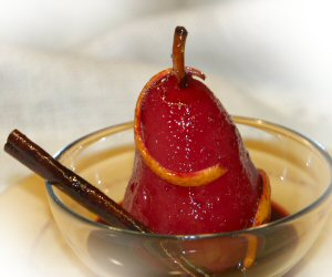 Franche-Comte specialty dessert, Wine Poached Pears recipe