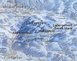 Ski map of La Fuvelle mountain villages