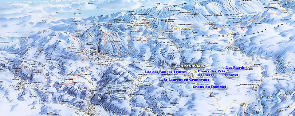 Grandvaux Ski Map, Jura mountains interactive map