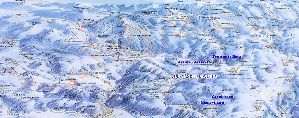 Jura Monts Rivieres Ski Map, Jura mountains interactive map