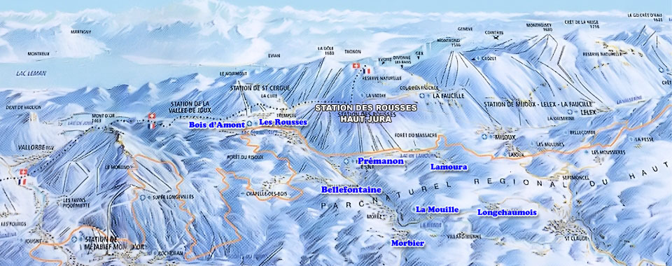 Haute Jura Les Rousses Ski Map, Jura mountains interactive map
