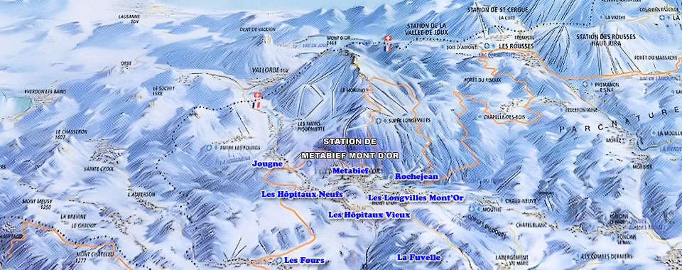 Metabief Ski Map, Jura mountains interactive map