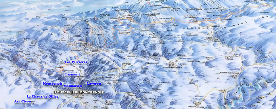 Pontarlier-Montbenoit Ski Map, Jura mountains interactive map