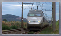 Trains passing through vineyards in French countryside video clip